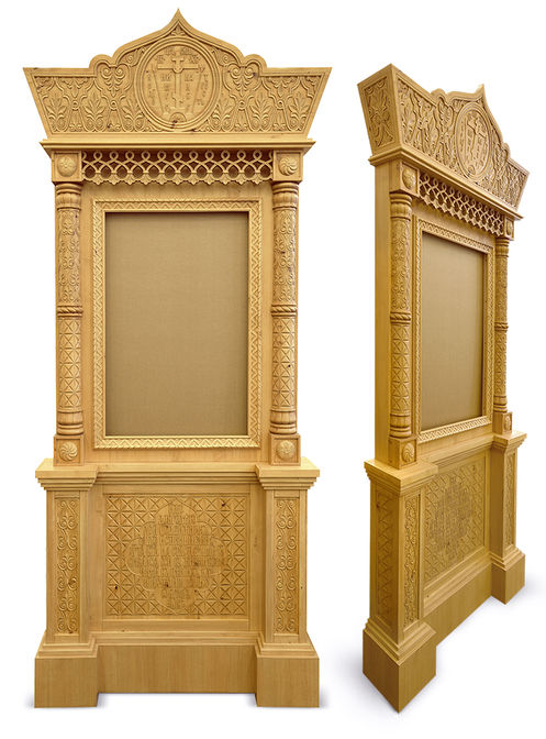 Храмовая мебель. Киот с резным декором в стиле Русского Севера. Акантус Ателье