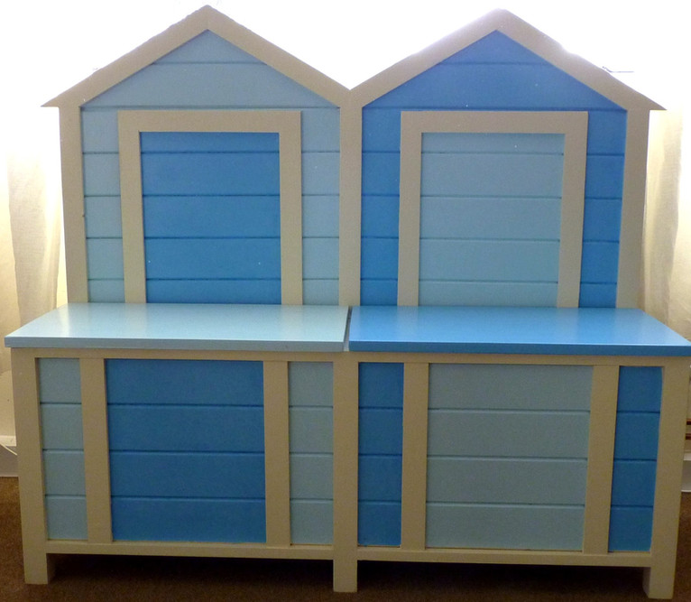 Beach hut bench