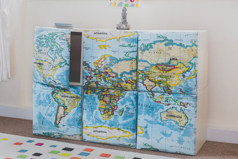 world map cupboards