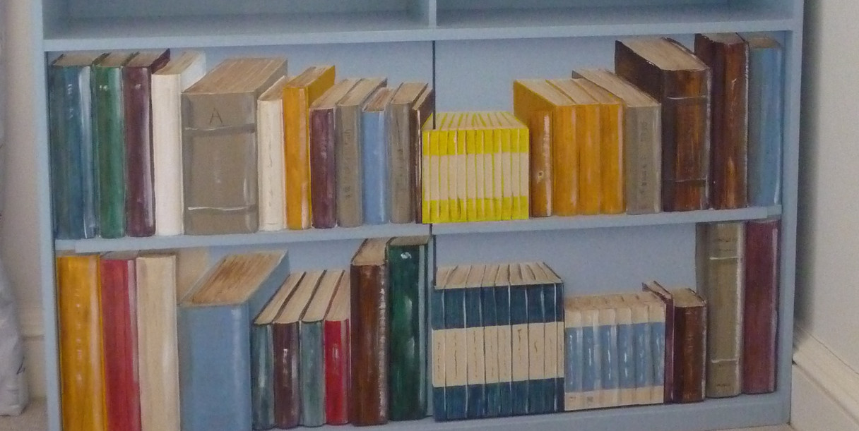a single bookcase in position