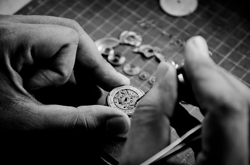 Black and white vintage  Clock Repair,se