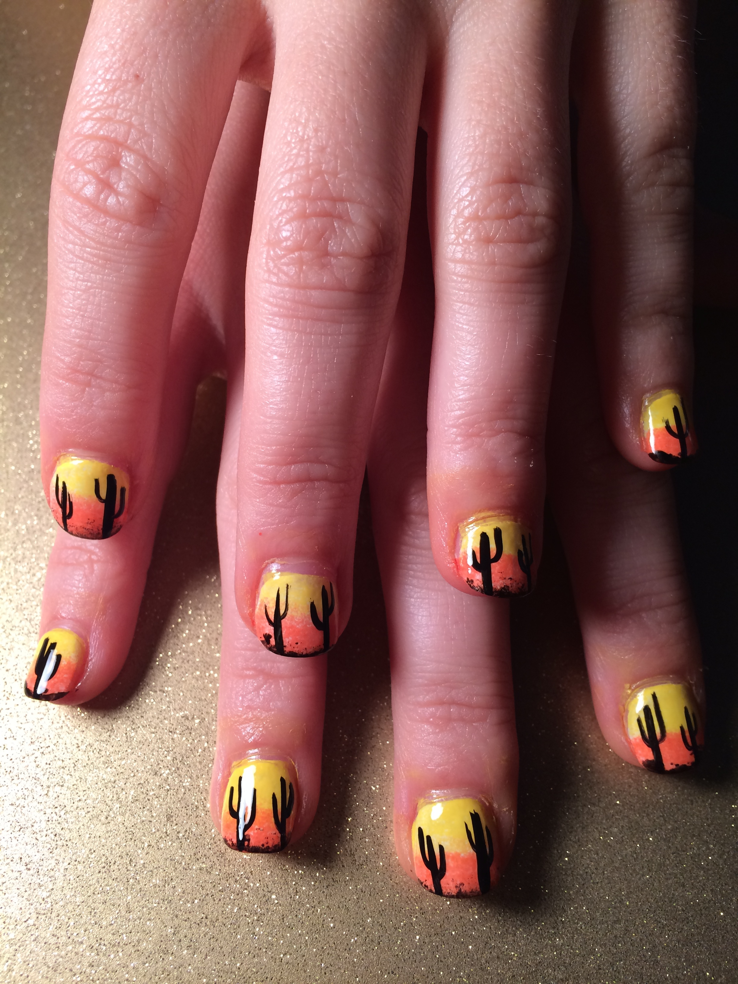 desert sunset nails.