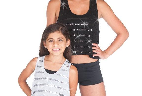 Sequin Stripe Top - Black