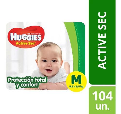 Huggies Active Sec M PACK AHORRO. 104 unidades.