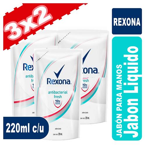 Rexona Jabon Líquido 3x2 220ml c/u Antibacterial Fresh