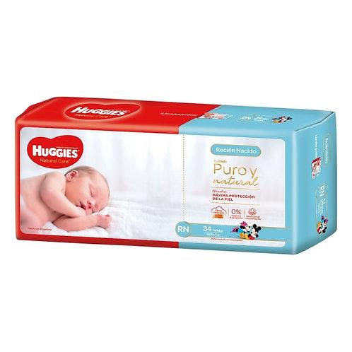 Huggies Natural Care Recien Nacido x 34 + toallitas húmedas de regalo