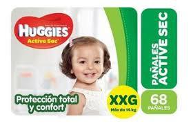 Huggies Active Sec XXG  PACK AHORRO.  68 unidades.