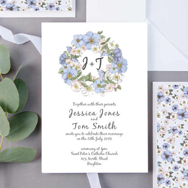 Dotty Dogrose Floral Wedding Invite