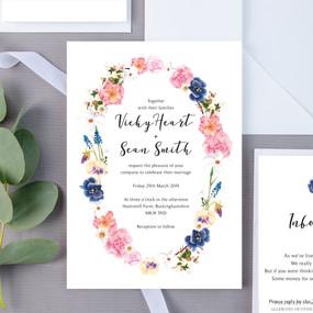 English Graden Floral Wedding Invite