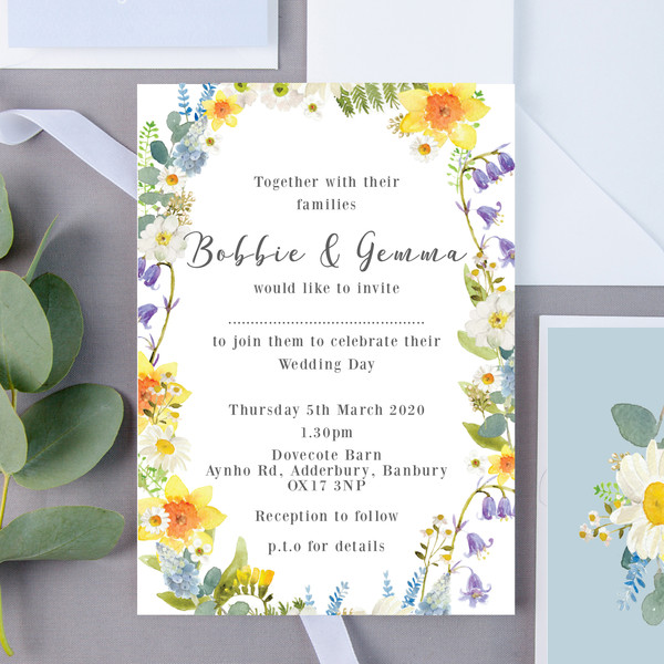 Bluebell Floral Wedding Invite