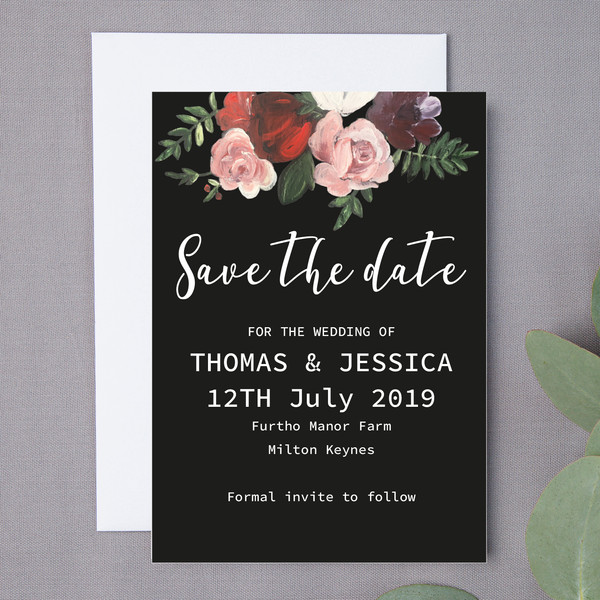Deep Floral Save The Date