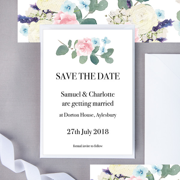 Short Floral Save The Date