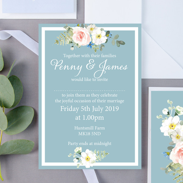 Duck Egg Floral Wedding Invite