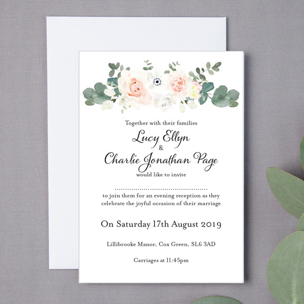 Page Floral Wedding Invite