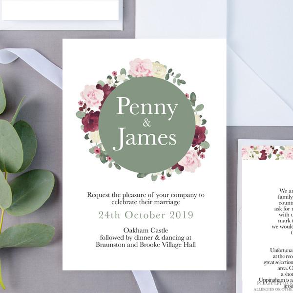 Marsden Sage Floral Wedding Invite