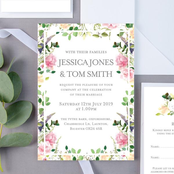 Pearl Bouquet Wedding Invite