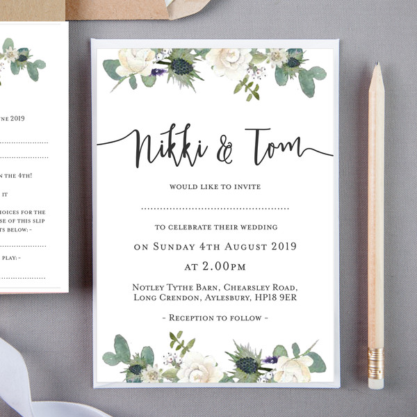 Lusby Floral Wedding Invite