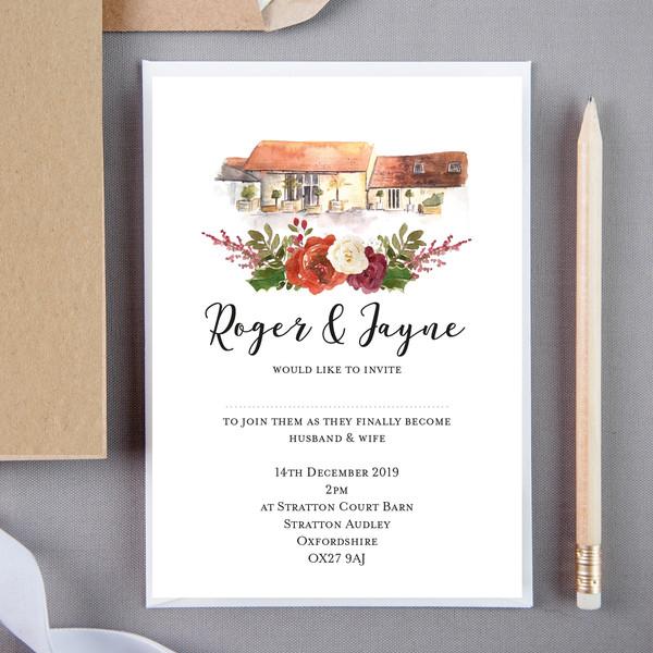 Hide Floral Wedding Invite