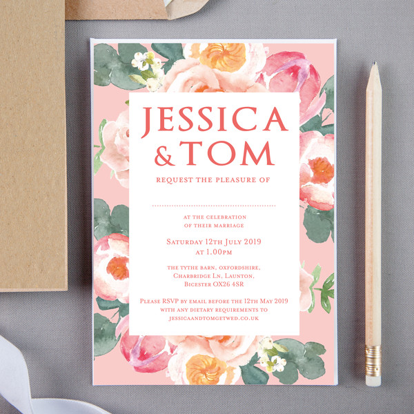 Coral Floral Wedding Invite