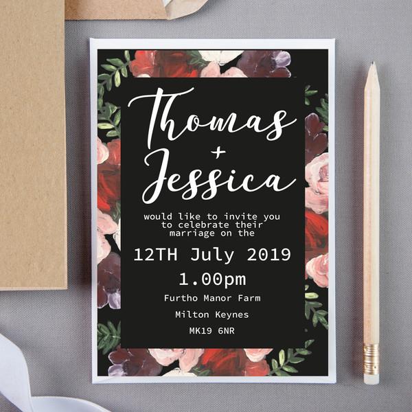 Dark Floral Wedding Invite