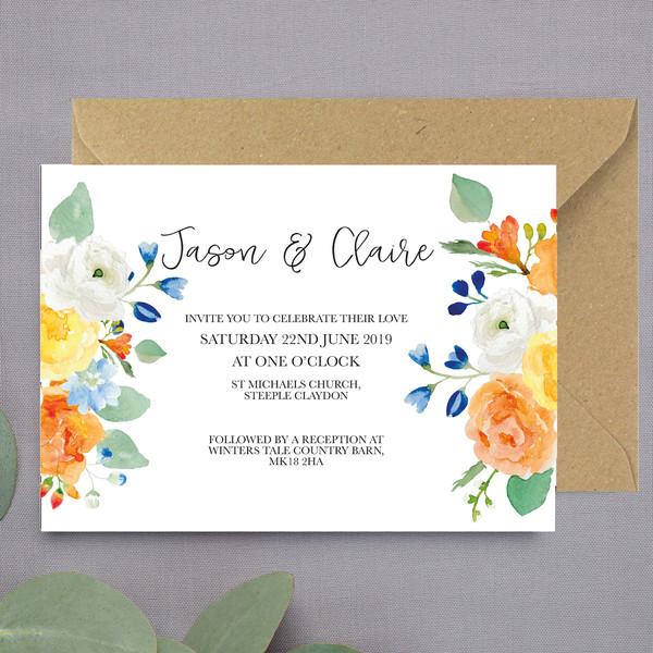 Autumn Hue Floral Wedding Invite