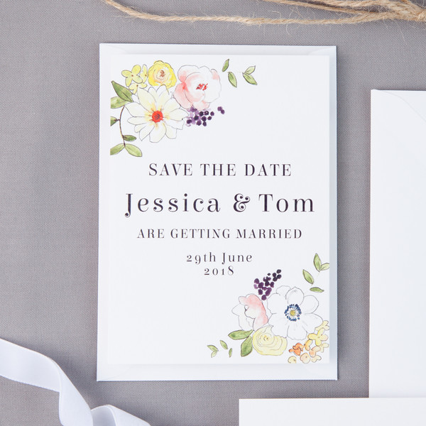 Graphic Floral Save The Date