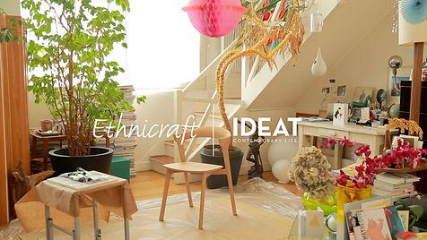 Chaise BOK de la marque ETHINCRAFT dans l'atelier de l'illustrateur ERIC GIRIAT