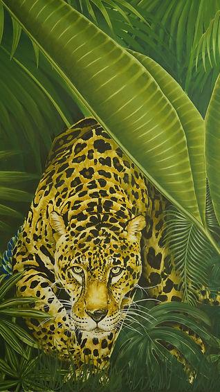 fresque murale du peintre CEDRIC PELTIER pour le showroom EMBLEM, tigre dans la jungle