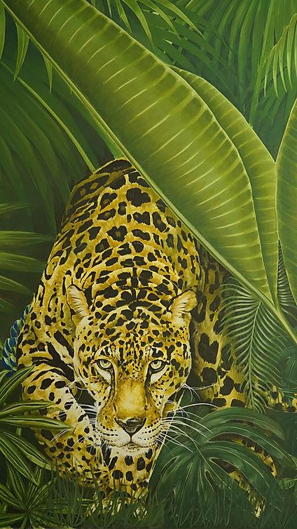 TIGRE DE LA JUNGLE, dessin et peinture réalisée par CEDRIC PELTIER pour la fresque monumentale de jungle réalisée pour le showroom parisien de la MANUFACTURE EMBLEM PARIS