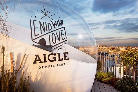 Bulle NID WILD LOVEde la marque aigle, glamping sur les toits de Paris pour la Saint Valentin