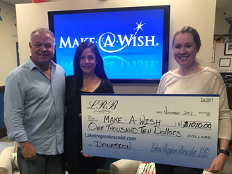 Lakes Region Bracelet donates another check to Make A Wish NH!