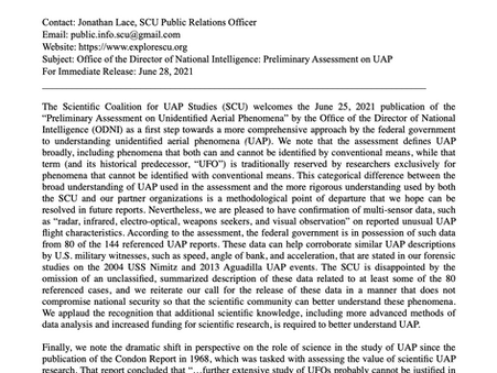 Press Release: DNI Preliminary Assessment on UAP