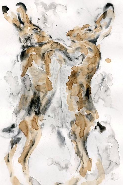 Fine Art Print: Boxing Hares