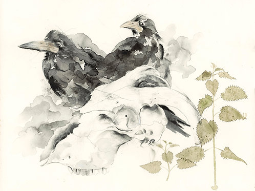 Crows, Nettles, Skull - Original Painting