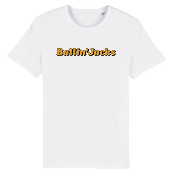 Ballin' Jacks - White Organic Cotton Screen Printed T-Shirt - Orange