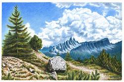 Пейзаж с кучевыми облаками