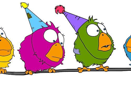 Birthday Birdz on a wire | Back Side Print Only | Short-Sleeve Unisex T-Shirt
