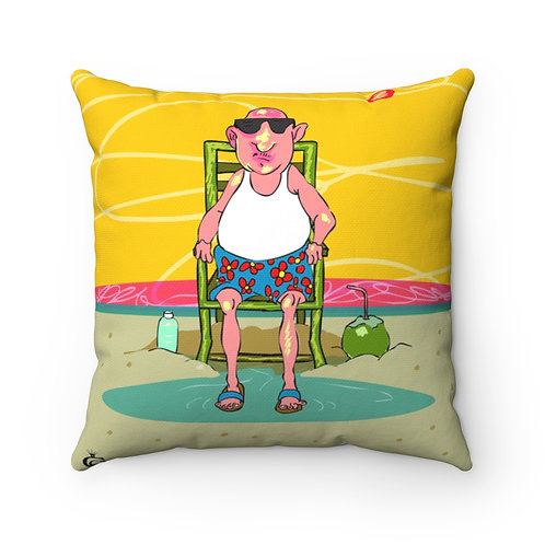 Miami Beach Old Man & Old Lady | Spun Polyester Square Pillow