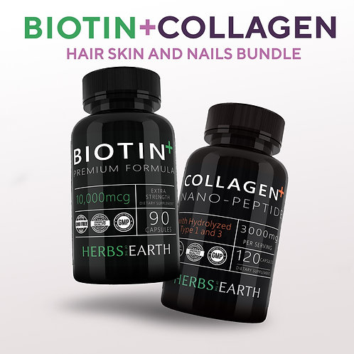 Biotin 10,000MCG 90 capsules and Collagen Nano Peptides Hydrolyzed Types 1 and 3