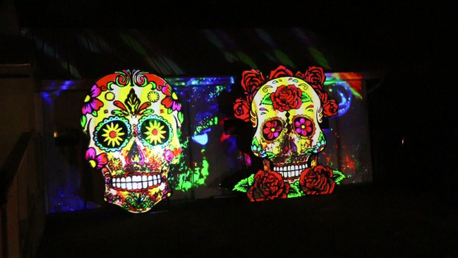 Projection Mapped Sugar Skulls