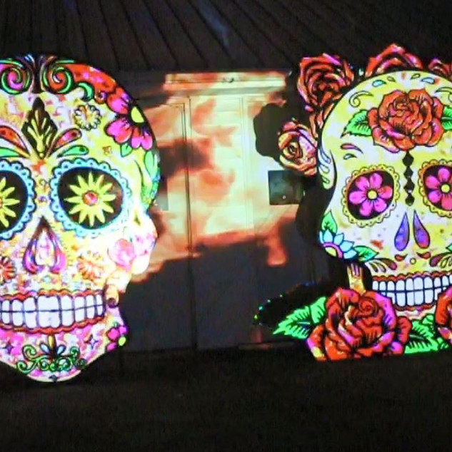 Giant Projection Mapped Sugar Skulls