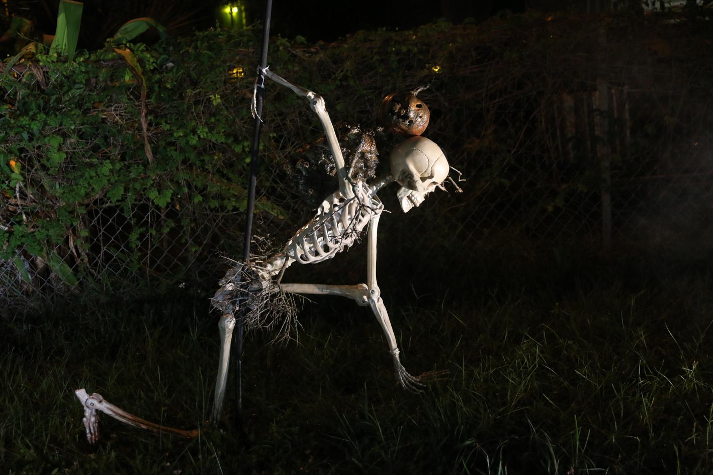 Pumpkin man takes down a skeleton