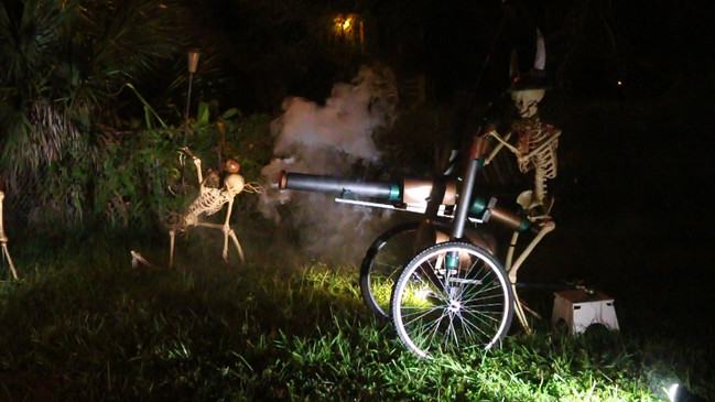 Skeleton army with smoking cannon