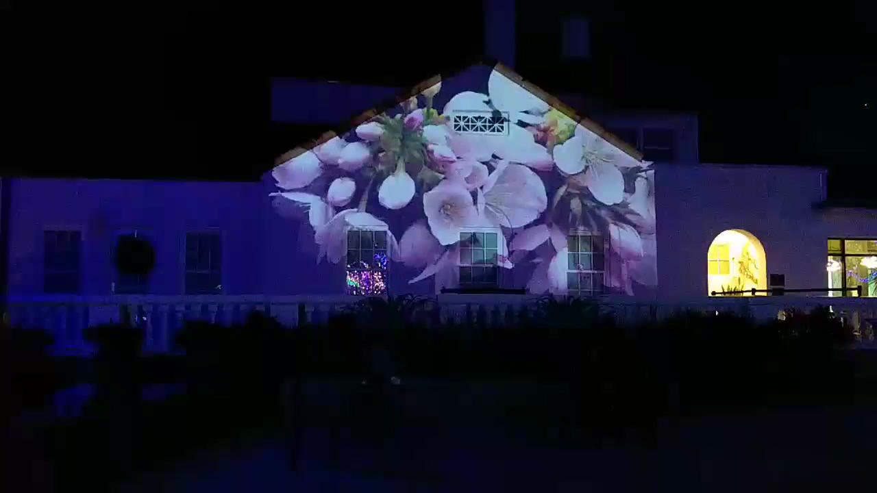 Projection mapped swimming pool for holiday