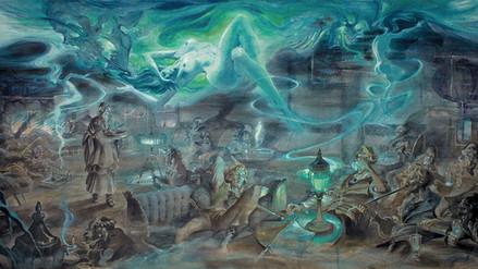 """""""Fumerie d'Opium"""". Acuarela sobre papel. 203 cm x 98,5 cm (79,92 x 38,78 in.)"""