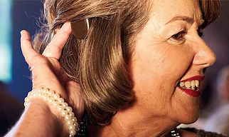 woman wearing cochlear implant