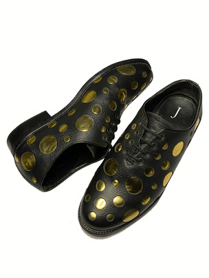 Leather Shoes with Gold Metallic Polka Dots and a leather Sole