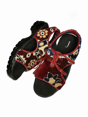 Upcycled Carpet Sandals with a rubber sole