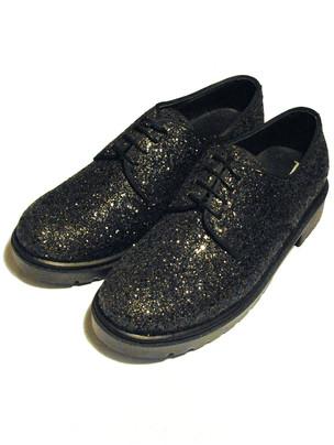 Black Glitter Derby Shoes