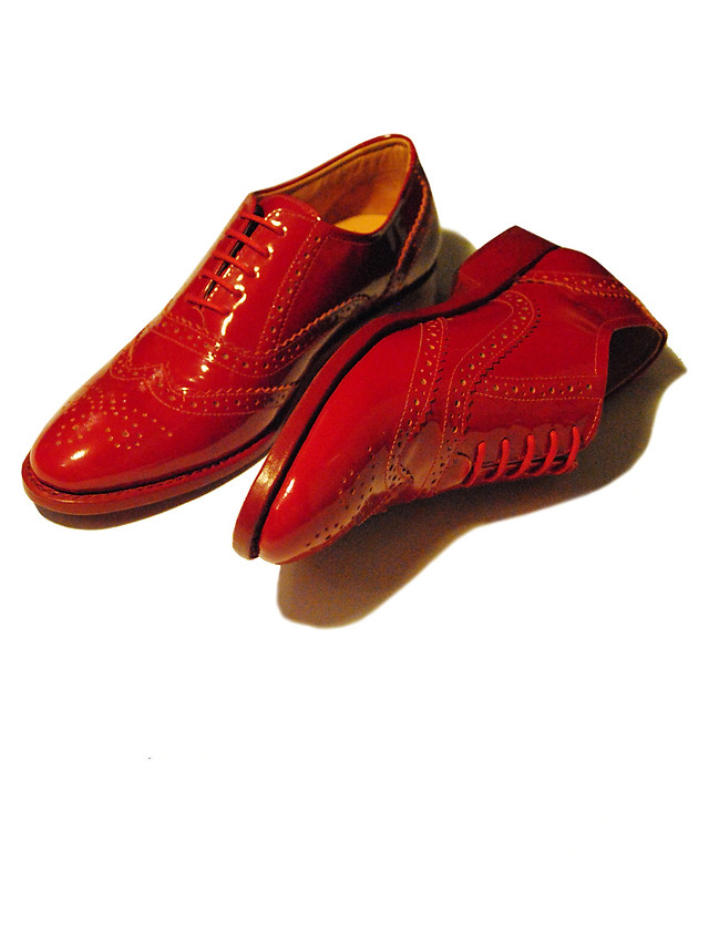 Red Patent leather Brogues